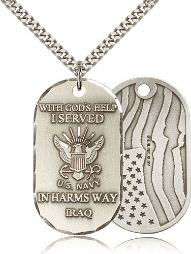 Bliss Mfg Navy Military Dog Tag Necklace w/American Flag