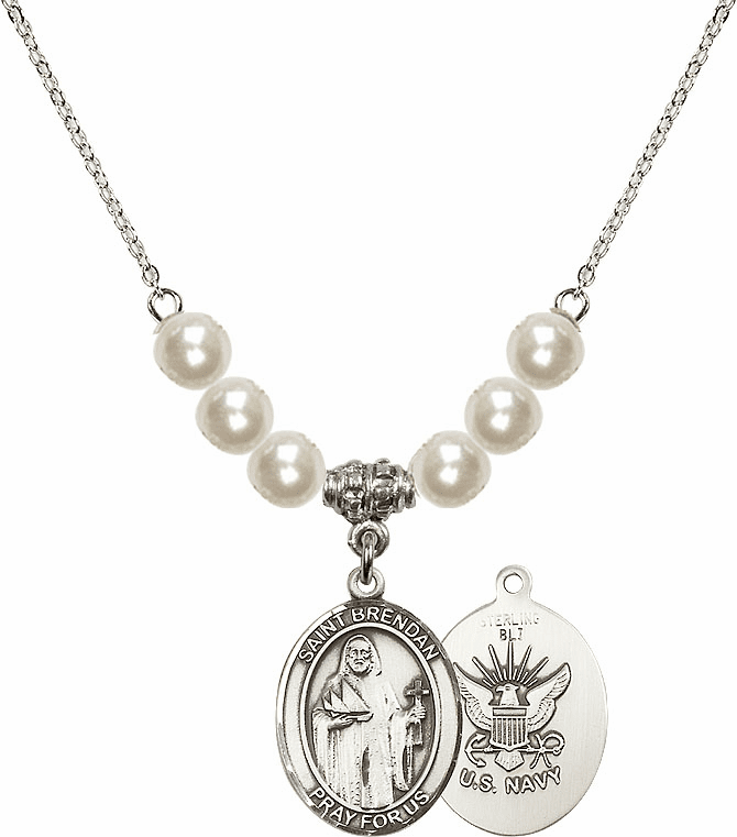 Bliss Mfg Navy St Brendan the Navigator Charm with Faux Pearls Necklace