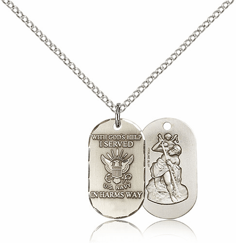 Bliss Mfg Navy St. Christopher Medal Necklace