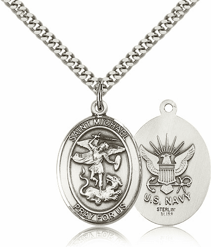 Navy Sterling Silver St Michael the Archangel Pendant