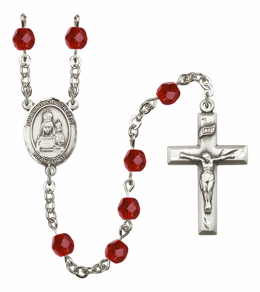 Bliss Mfg Our Lady Loretto July Ruby Birthstone Rosary