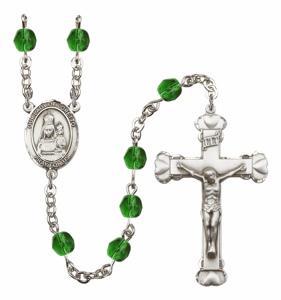 Bliss Mfg Our Lady Loretto May Emerald Birthstone Heart Rosary