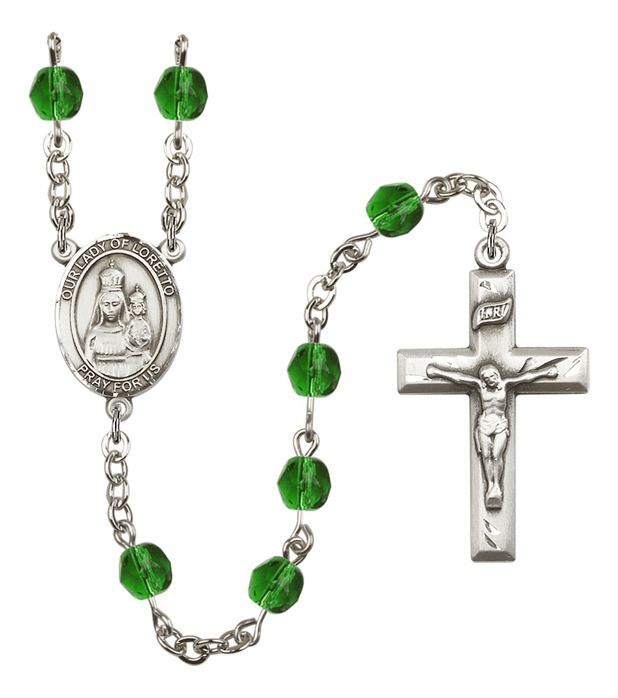 Bliss Mfg Our Lady Loretto May Emerald Birthstone Rosary