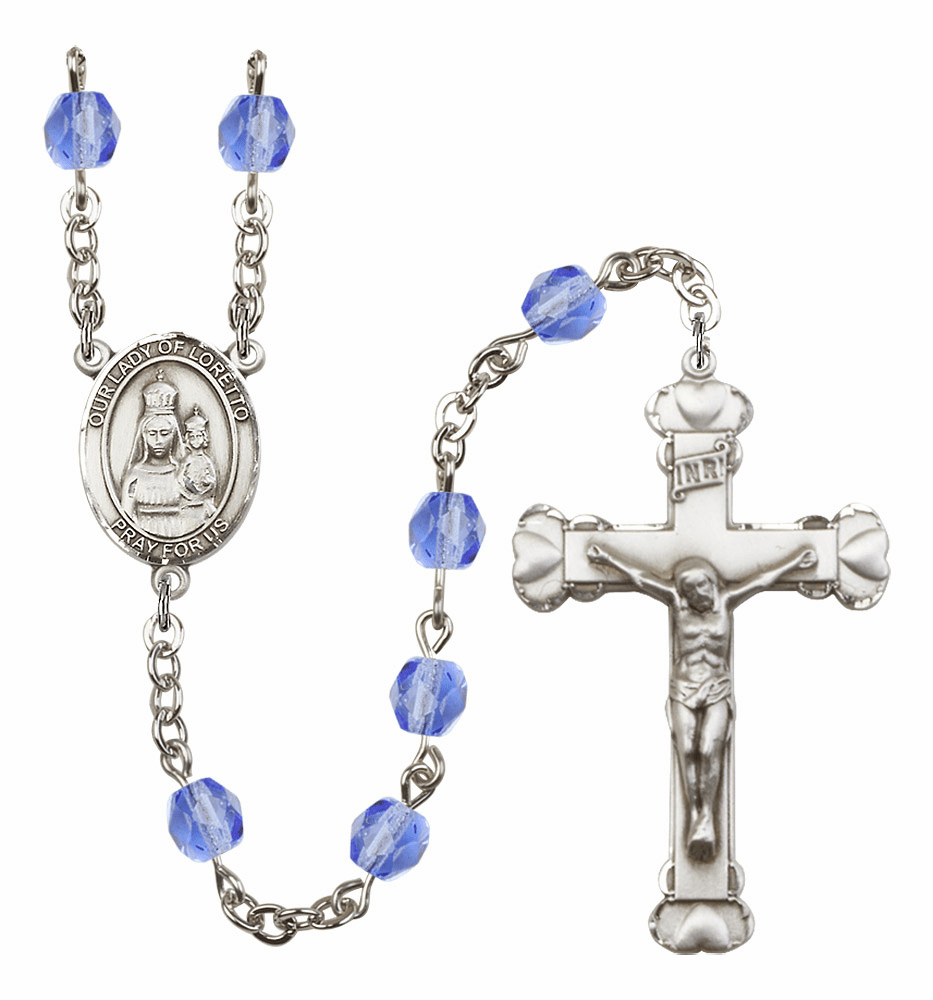 Bliss Mfg Our Lady Loretto Sep/Sapphire Birthstone Heart Rosary