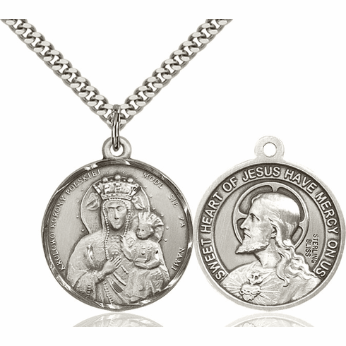 Bliss Mfg Our Lady of Czestochowa and Sacred Heart of Jesus Necklace