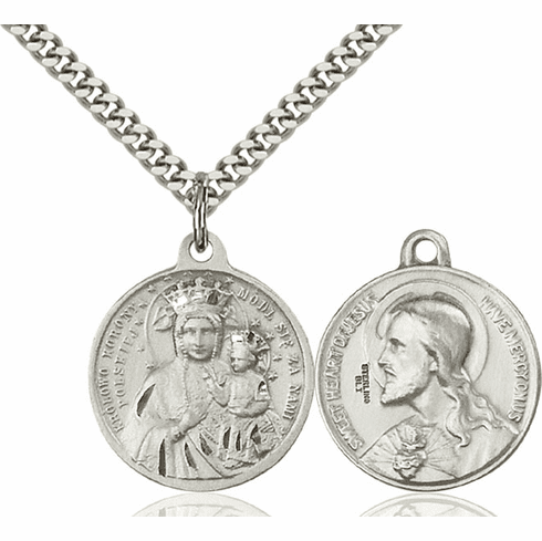 Bliss O/L of Czestochowa and Sacred Heart Medal Necklace