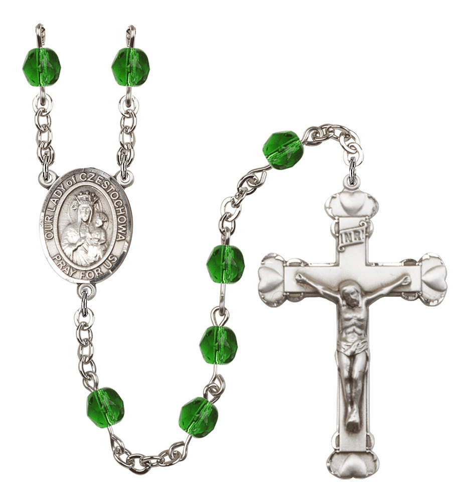 "Bliss Mfg Our Lady of Czestochowa Heart Birthstone Crystal Prayer Rosary  - ""More Colors"""