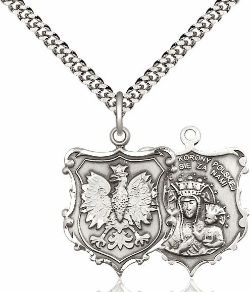 Bliss Mfg Our Lady of Czestochowa Pewter Pendant Necklace
