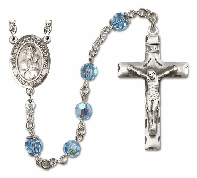 "Bliss Mfg Our Lady of Czestochowa Sterling Silver Patron Saint  Swarovski Crystal Rosary - ""More Options"""
