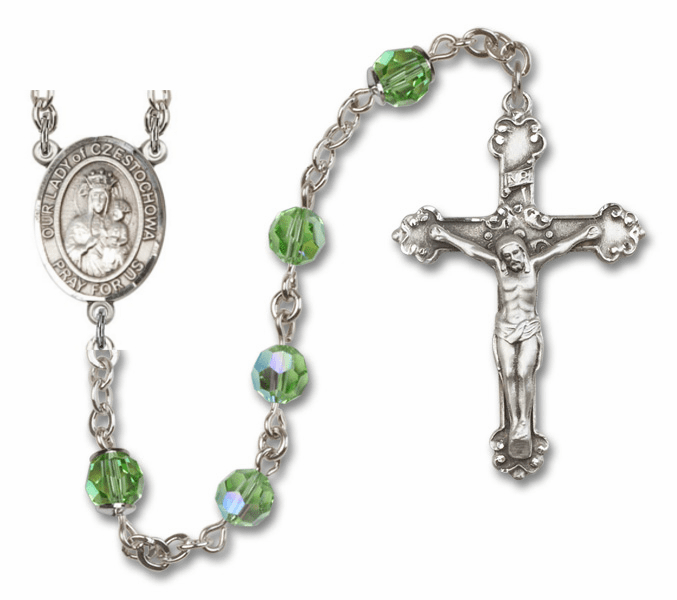 "Bliss Mfg Our Lady of Czestochowa Swarovski Crystal Sterling Silver Catholic Saint Rosary - ""More Options"""