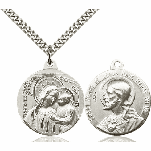 Bliss Mfg Our Lady of Good Counsel and Sacred Heart Medal Necklace