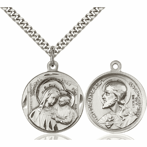 Bliss O/L of Good Counsel and Sacred Heart Medal Necklace