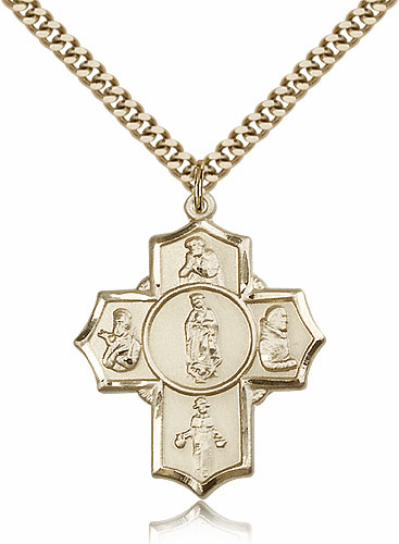 Bliss Mfg. Our Lady of Guadalupe 5-Way 14kt Gold-Filled Cross Medal