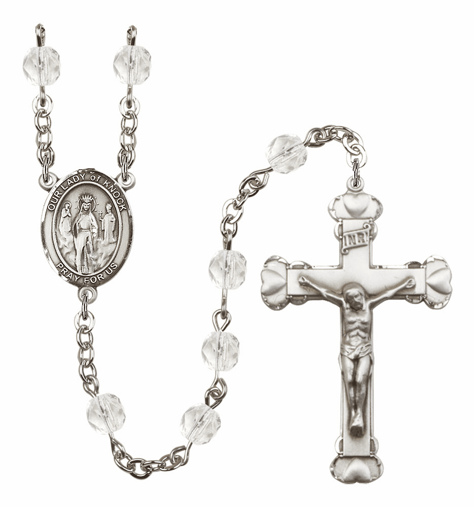 Bliss Mfg Our Lady of Knock April - Crystal Birthstone Heart Rosary
