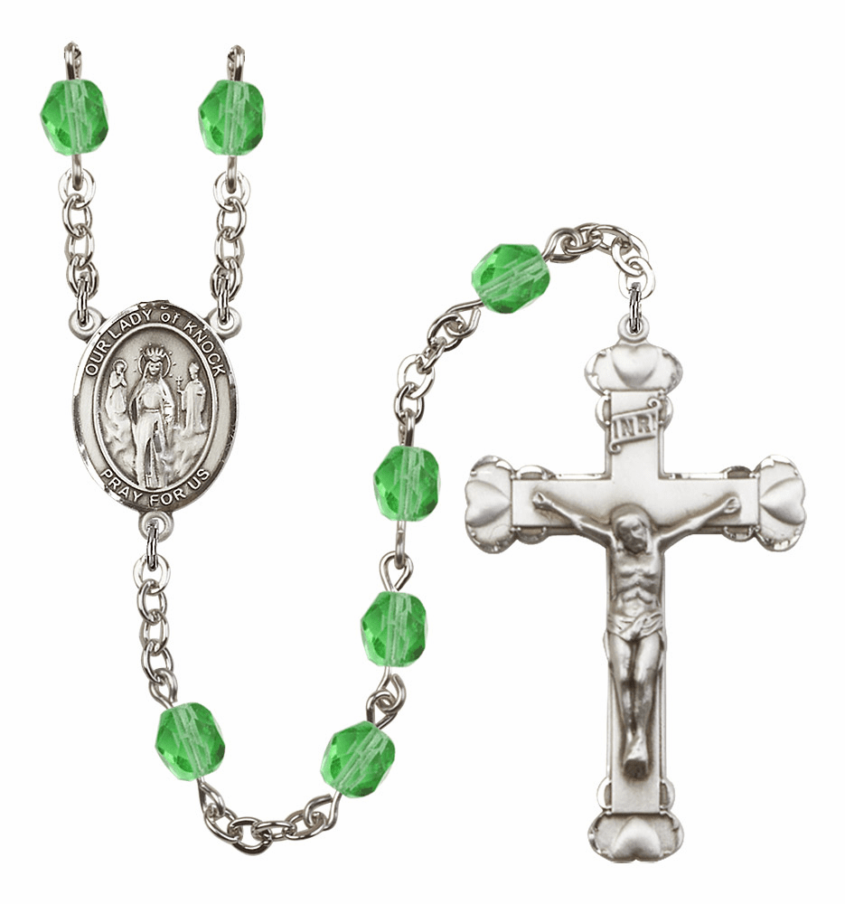 Bliss Mfg Our Lady of Knock August Peridot Birthstone Heart Rosary
