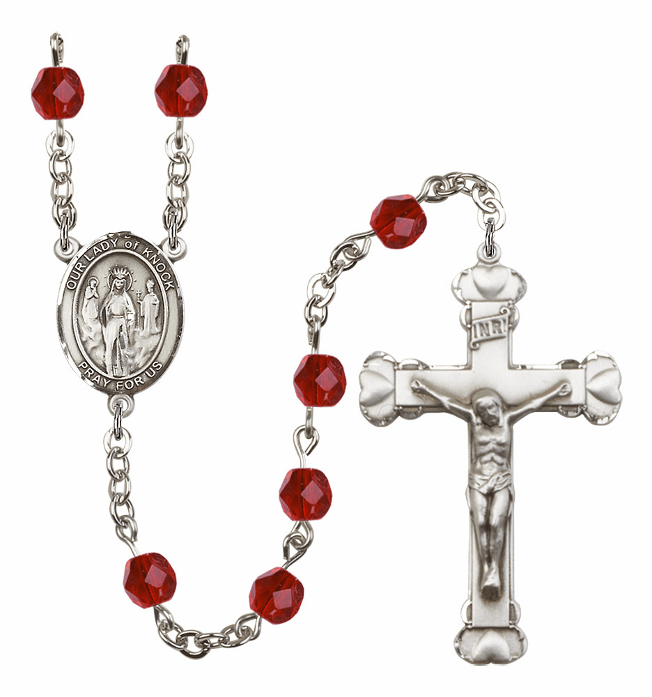 Bliss Mfg Our Lady of Knock July Ruby Birthstone Heart Rosary