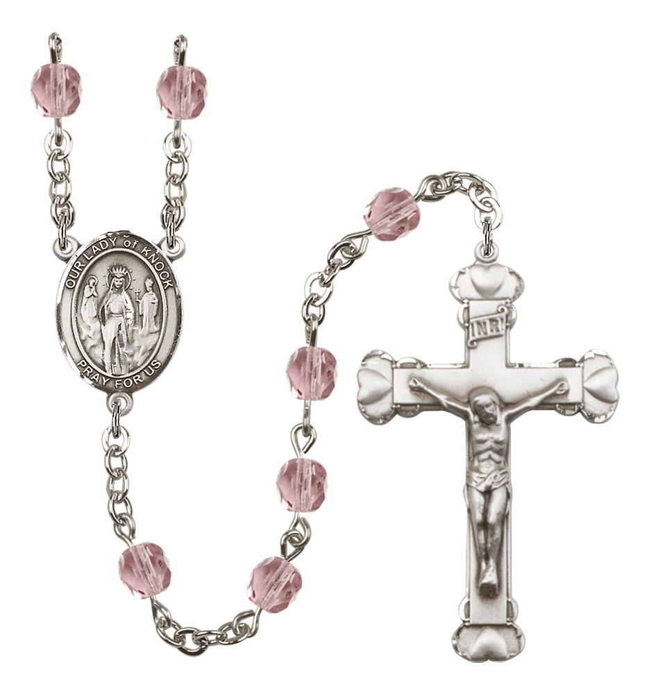 Bliss Mfg Our Lady of Knock June Lt Amethyst Birthstone Heart Rosary