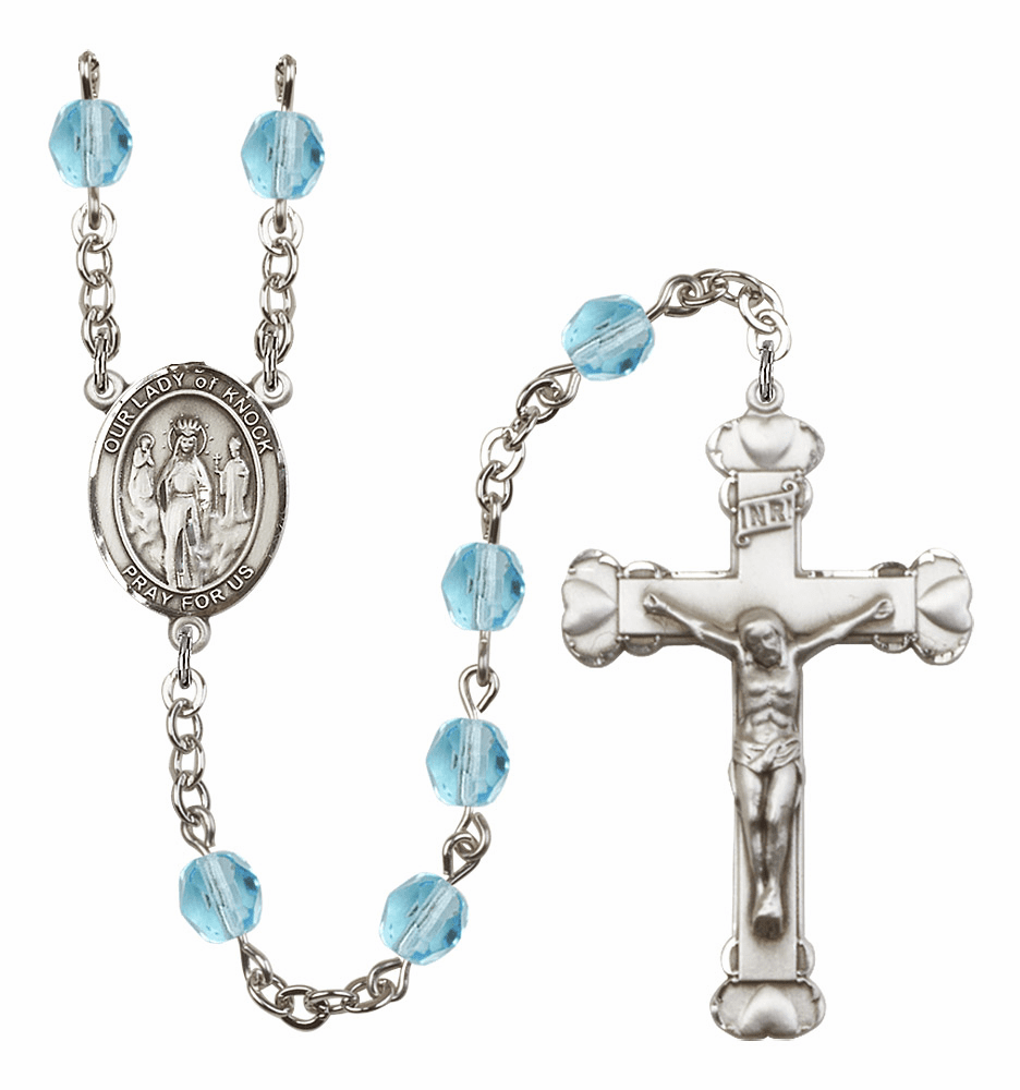 Bliss Mfg Our Lady of Knock March Aqua Birthstone Heart Rosary