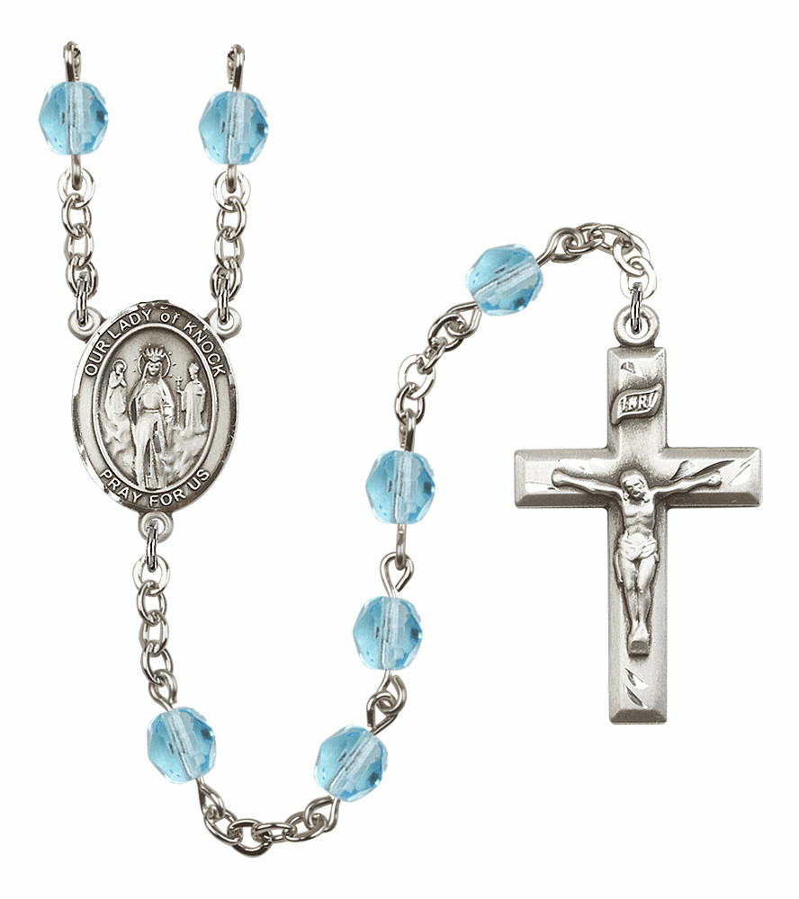 Bliss Mfg Our Lady of Knock March Aqua Birthstone Rosary