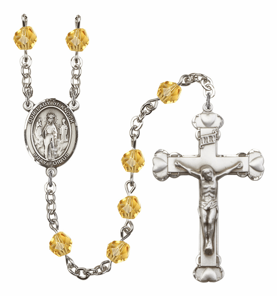 Bliss Mfg Our Lady of Knock November Topaz Birthstone Heart Rosary