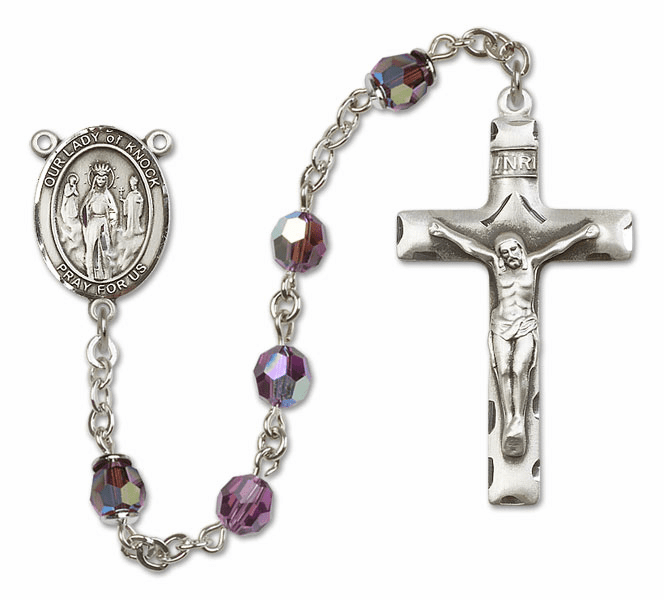 Bliss Mfg Our Lady of Knock Sterling Silver Amethyst Swarovski Rosary