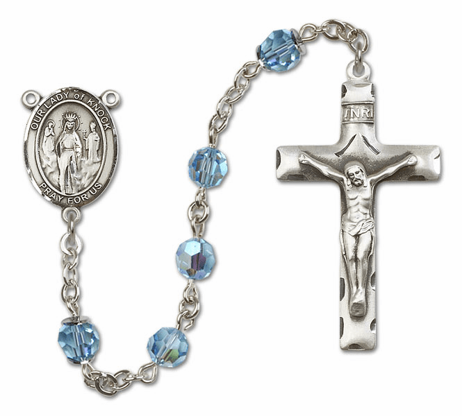 Bliss Mfg Our Lady of Knock Sterling Silver Aqua Swarovski Rosary
