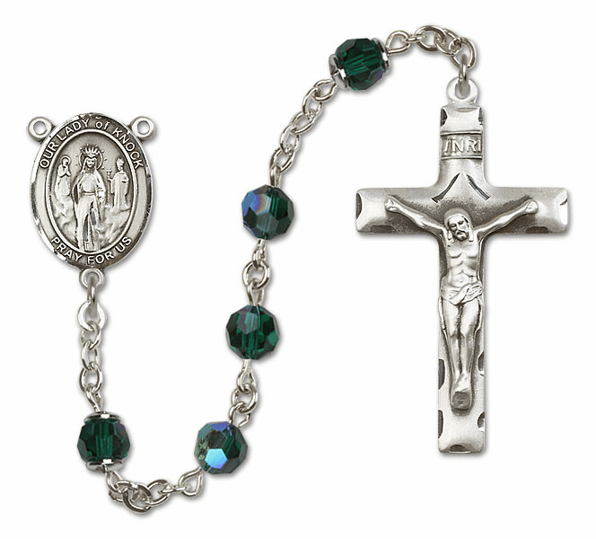 Bliss Mfg Our Lady of Knock Sterling Silver Emerald Swarovski Rosary