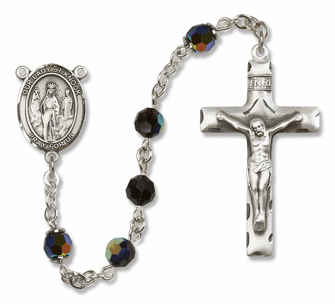 Bliss Mfg Our Lady of Knock Sterling Silver Jet Black Swarovski Rosary
