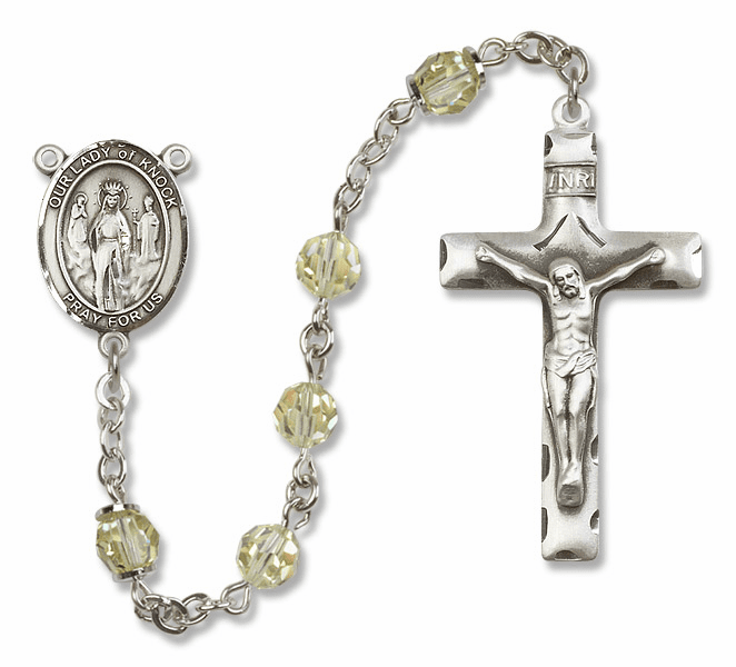 Bliss Mfg Our Lady of Knock Sterling Silver Jonquil Swarovski Rosary