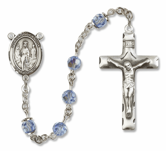 Bliss Mfg Our Lady of Knock Sterling Silver Lt Sapphire Swarovski Rosary