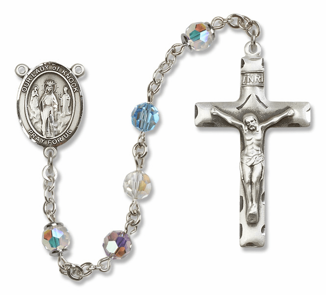 Bliss Mfg Our Lady of Knock Sterling Silver Multi-Color Swarovski Rosary