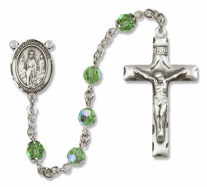 Bliss Mfg Our Lady of Knock Sterling Silver Peridot Swarovski Rosary