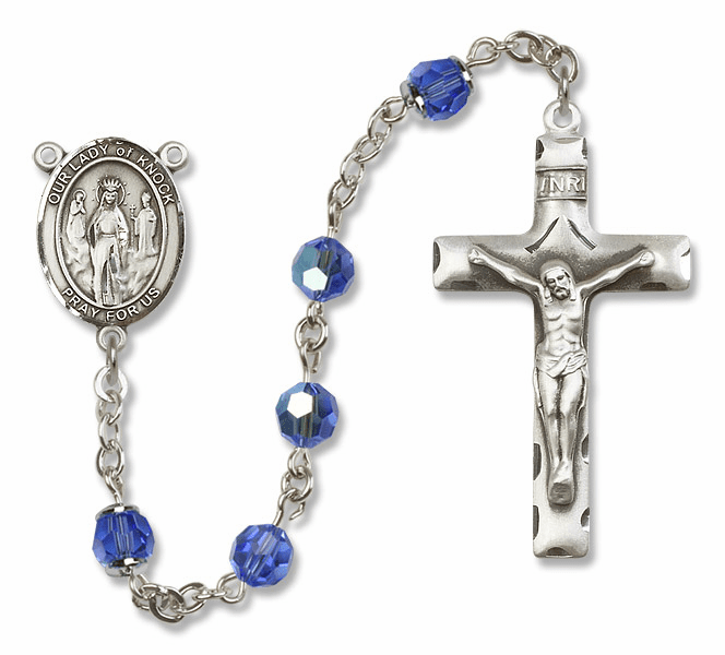 Bliss Mfg Our Lady of Knock Sterling Silver Sapphire Swarovski Rosary