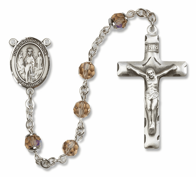 Bliss Mfg Our Lady of Knock Sterling Silver Topaz Swarovski Rosary