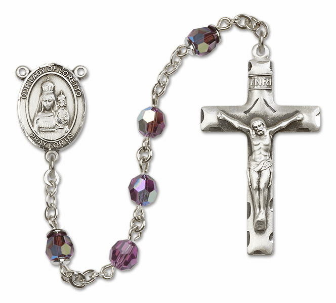 Bliss Mfg Our Lady of Loretto Sterling Silver Amethyst Swarovski Rosary