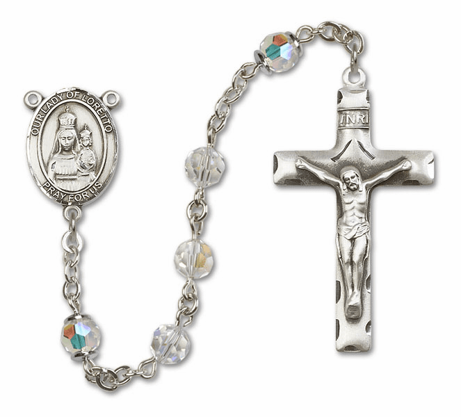 Bliss Mfg Our Lady of Loretto Sterling Silver Crystal Swarovski Rosary