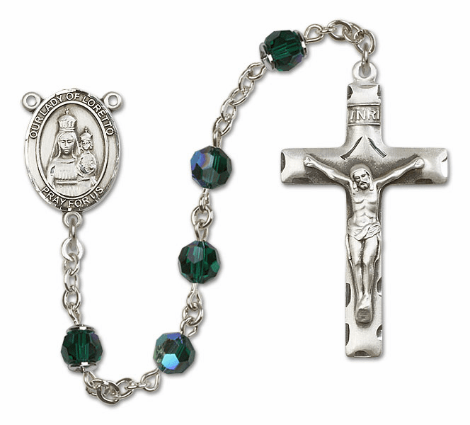 Bliss Mfg Our Lady of Loretto Sterling Silver Emerald Swarovski Rosary