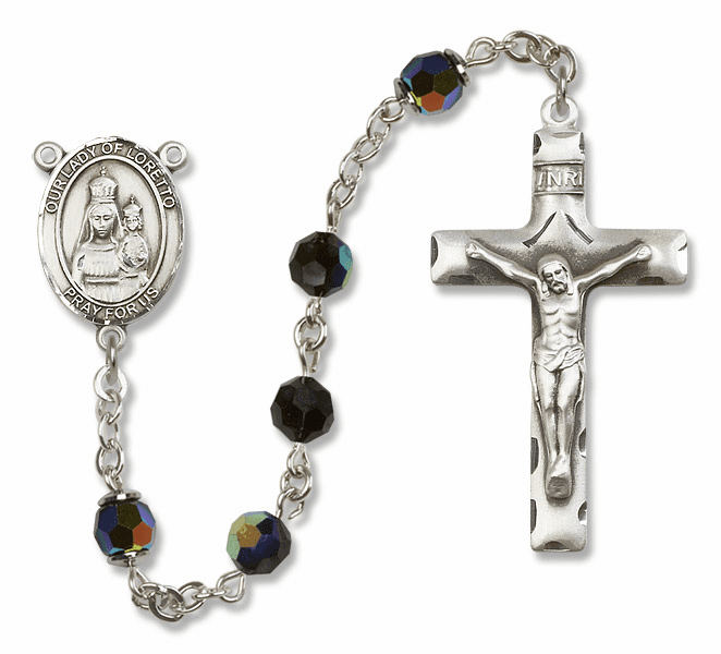 Bliss Mfg Our Lady of Loretto Sterling Silver Jet Black Swarovski Rosary