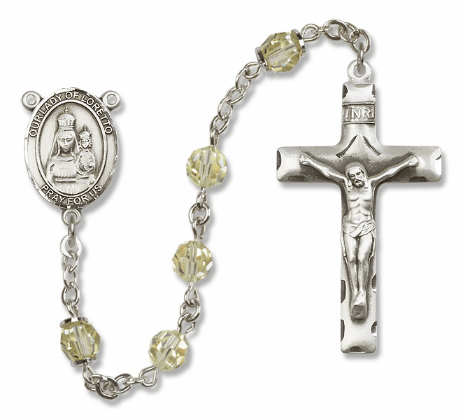 Bliss Mfg Our Lady of Loretto Sterling Silver Jonquil Swarovski Rosary