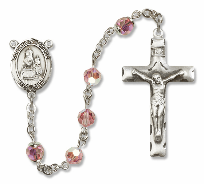 Bliss Mfg Our Lady of Loretto Sterling Silver Lt Rose Swarovski Rosary