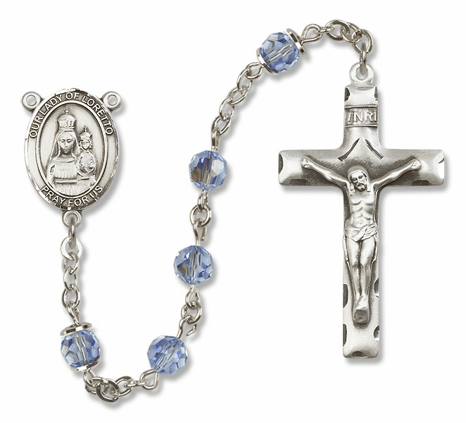 Bliss Mfg Our Lady of Loretto Sterling Silver Lt Sapphire Swarovski Rosary