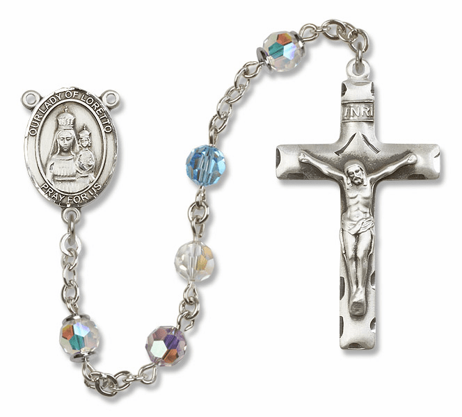 Bliss Mfg Our Lady of Loretto Sterling Silver Multi-Color Swarovski Rosary