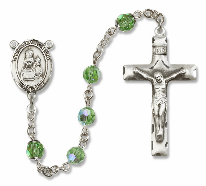 Bliss Mfg Our Lady of Loretto Sterling Silver Peridot Swarovski Rosary