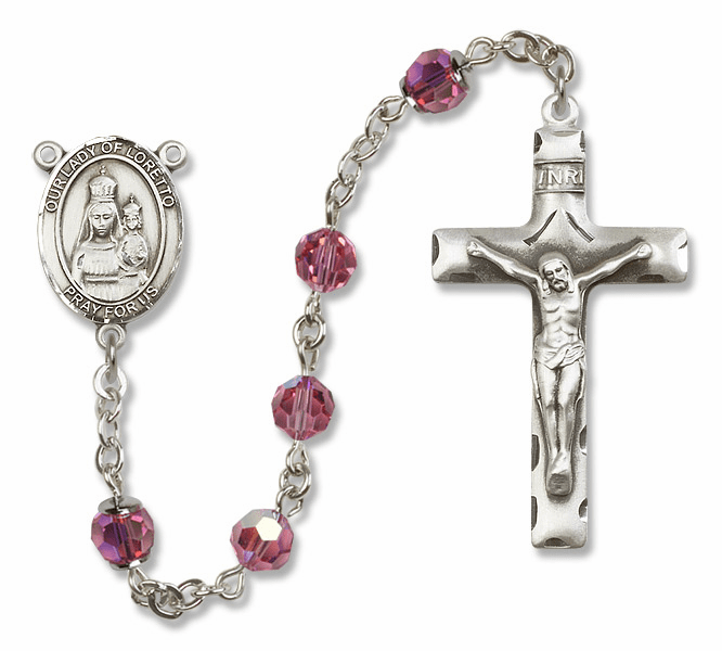 Bliss Mfg Our Lady of Loretto Sterling Silver Rose Swarovski Rosary