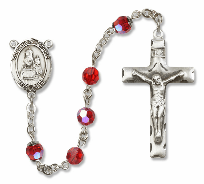 Bliss Mfg Our Lady of Loretto Sterling Silver Ruby Swarovski Rosary