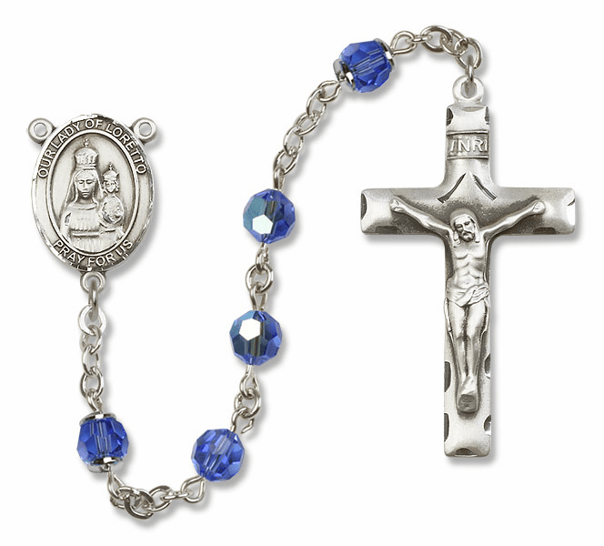 Bliss Mfg Our Lady of Loretto Sterling Silver Sapphire Swarovski Rosary
