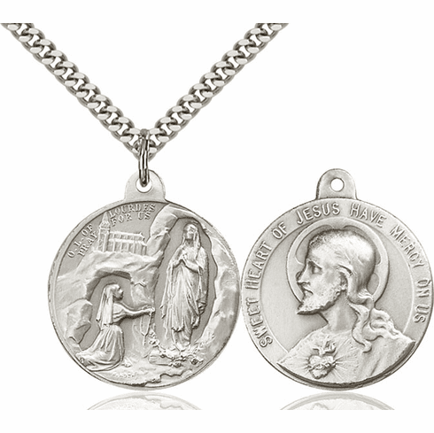 Bliss Mfg Our Lady of Lourdes and Sacred Heart of Jesus Necklace