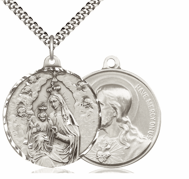 Bliss Mfg Our Lady of Mount Carmel and Sacred Heart of Jesus Sterling Medal Necklace