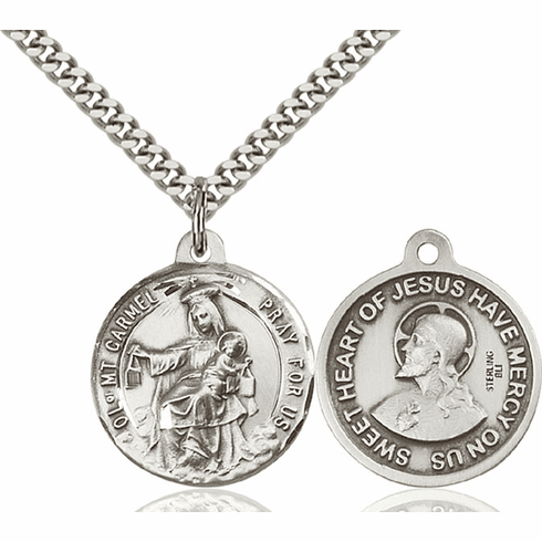 Bliss O/L of Mount Carmel and Sacred Heart Medal Necklace
