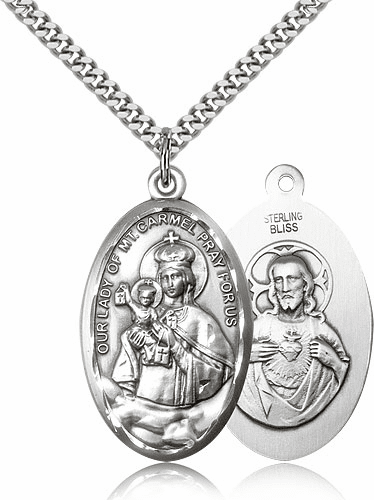 Bliss Mfg Our Lady of Mount Carmel Pewter Pendant Necklace